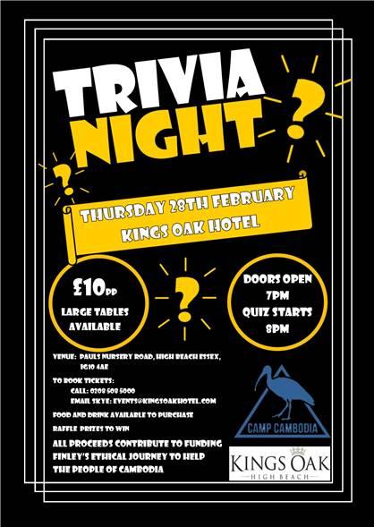 Trivia Night At The Kings Oak Hotel