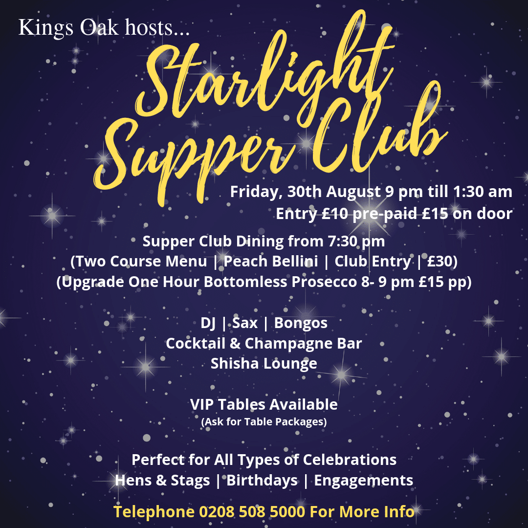 Starlight Supper Club Details For August 2019