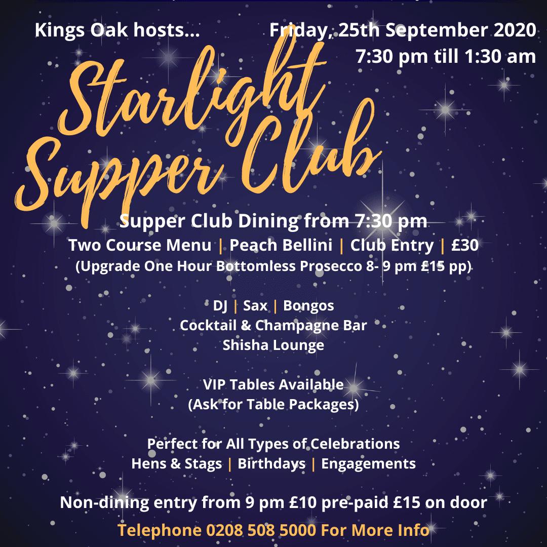 Starlight Supper Club September 2020