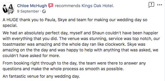 Wedding Fair Open Evening Testimonial