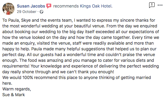 Wedding Fair Open Evening Testimonial